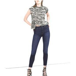 Zara High Waisted Raw Hem Skinny Jeans